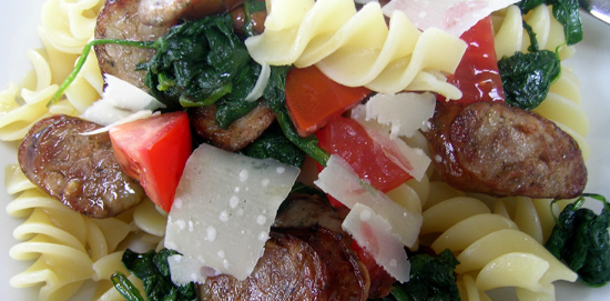 Bradley Smoked Italian Sausage, Spinach and Fresh Tomato with Pasta